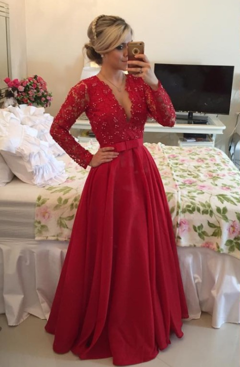 Red Long Sleeves Prom Dresses 2021 V Neck Lace Pearls Floor Length A-line Stunning Evening Gowns