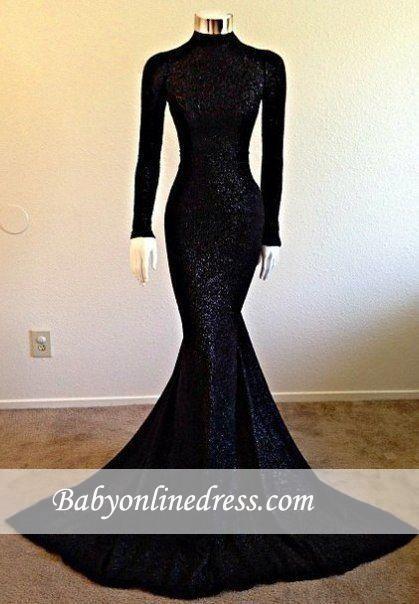 Long-Sleeve Mermaid High-Neck Modest Black Prom Dress BA5158