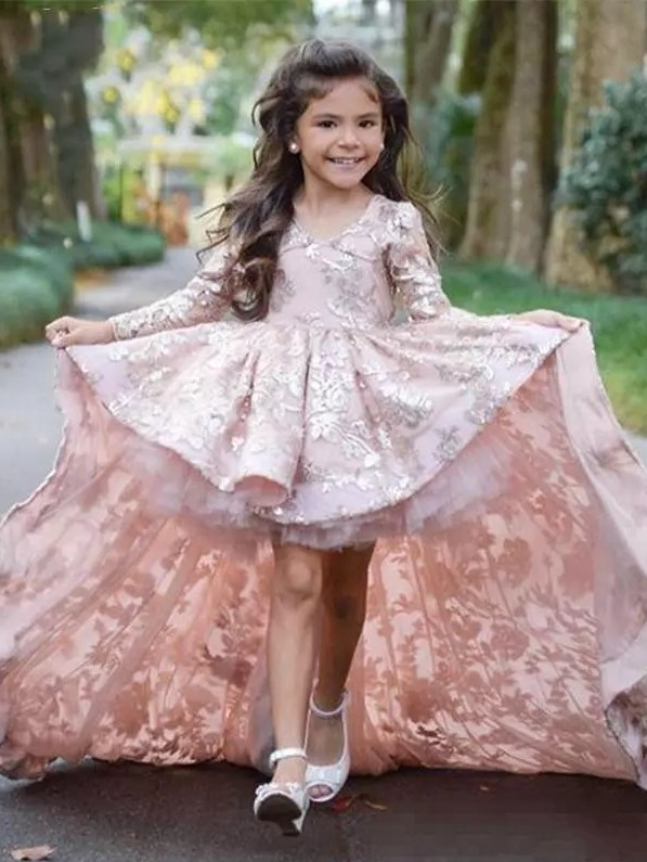Pink High Low Flower Girl Dress | Lace Girl Pageant Dresses
