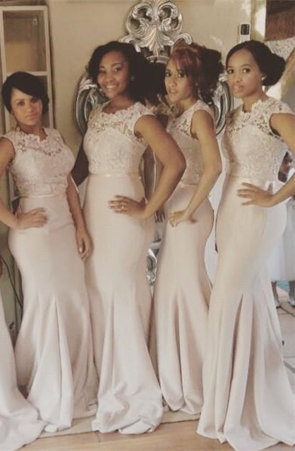 2021 Lace Top Mermaid Bridesmaid Dresses Sleeveless with Sash Long Formal Wedding Party Dresses