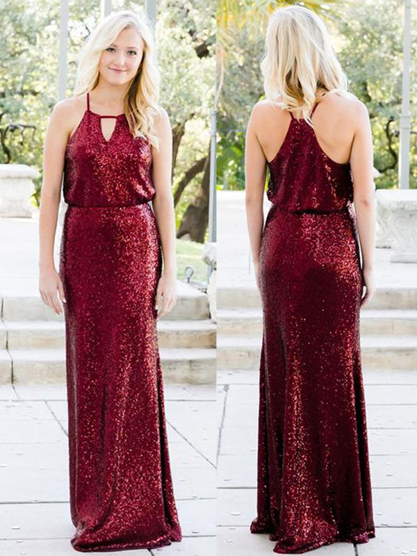 Shiny Sequins Sheath Bridesmaid Dresses | Halter Sleeveless Long Wedding Party Dresses