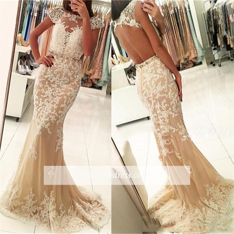 Modest Lace Cap-Sleeves Bateau Mermaid Prom Dresses | Appliques Beading Backless Evening Gowns