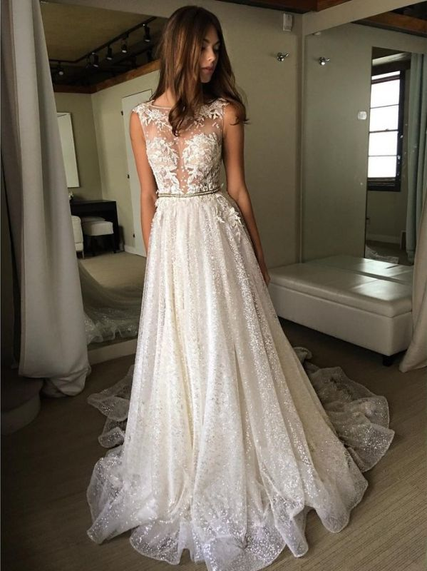 Sexy A-Line Wedding Dresses | Illusion Bodice Lace Appliques Bridal Gowns bc1661