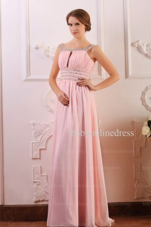 Wholesale Prom Dresses 2021 Cheap Beading Light Pink Chiffon Long Dress BO0638