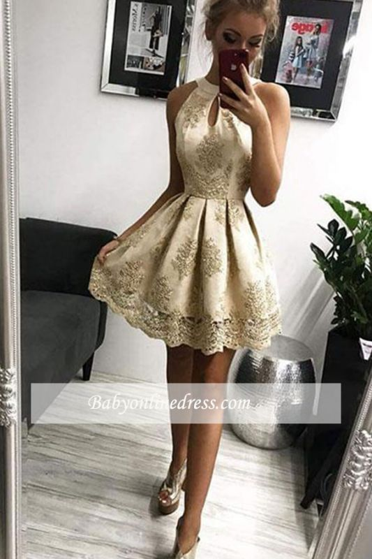 Outstanding Short Jewel Homecoming Dresses | A-Line Appliques Short Gowns