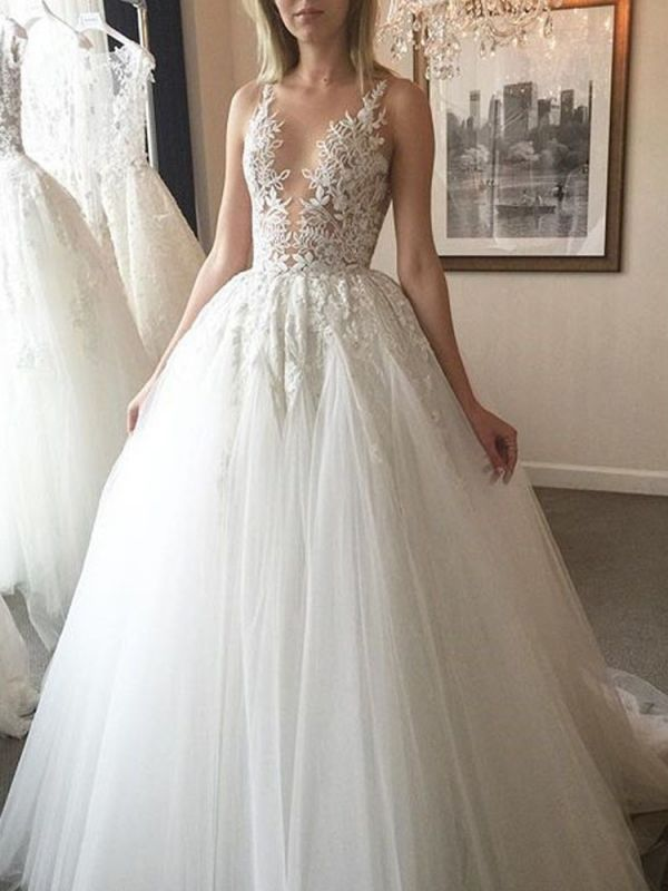 Sexy Sheer Neck Puffy Wedding Dresses | Lace Appliques Long Bridal Gowns