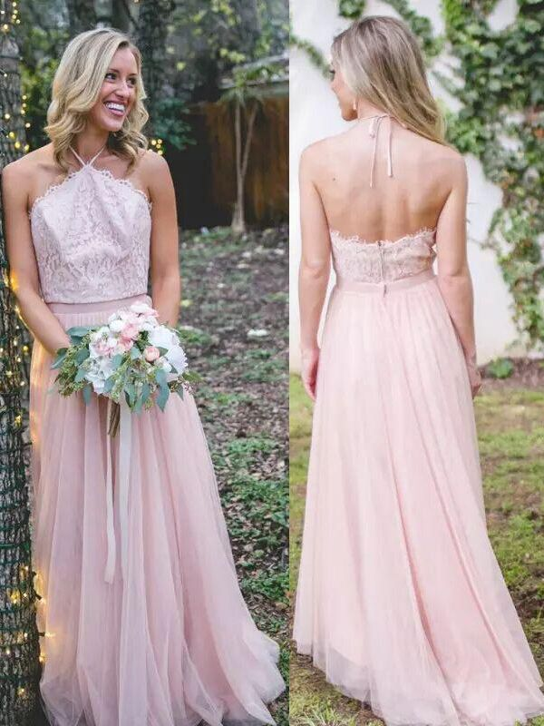 Pink Tulle A-Line Bridesmaid Dresses   Halter Lace Appliques Maid Of The Honor Dresses