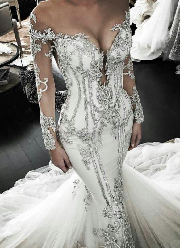 Vintage Appliques Mermaid Wedding Dresses | Off-the-Shoulder Long Sleeves Bridal Gowns BC0446