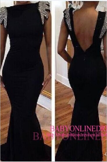 New Arrival Prom Dresses Sexy Black Backless Neading Crystal Cap Sleeves Mermaid Bateau Evening Gowns