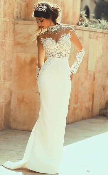 High Neck Illusion Lace Sheath Wedding Dresses Hollow Back Court Train Bridal Gowns