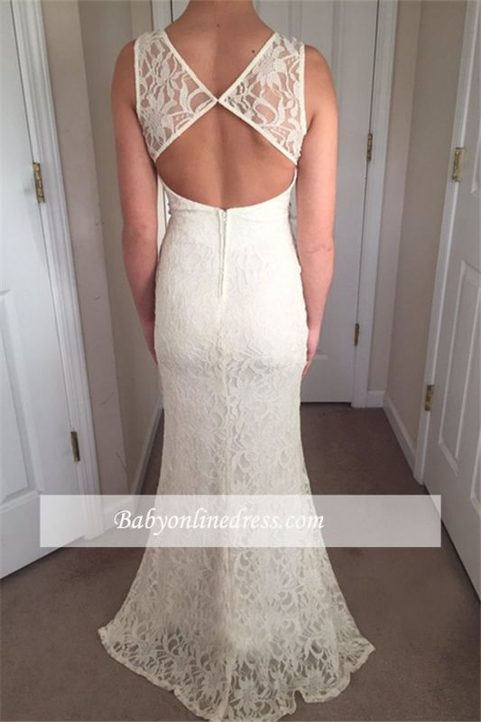 Glamorous Crew Sleeveless  Prom Dresses   White Lace Zipper Front Split Evening Gowns