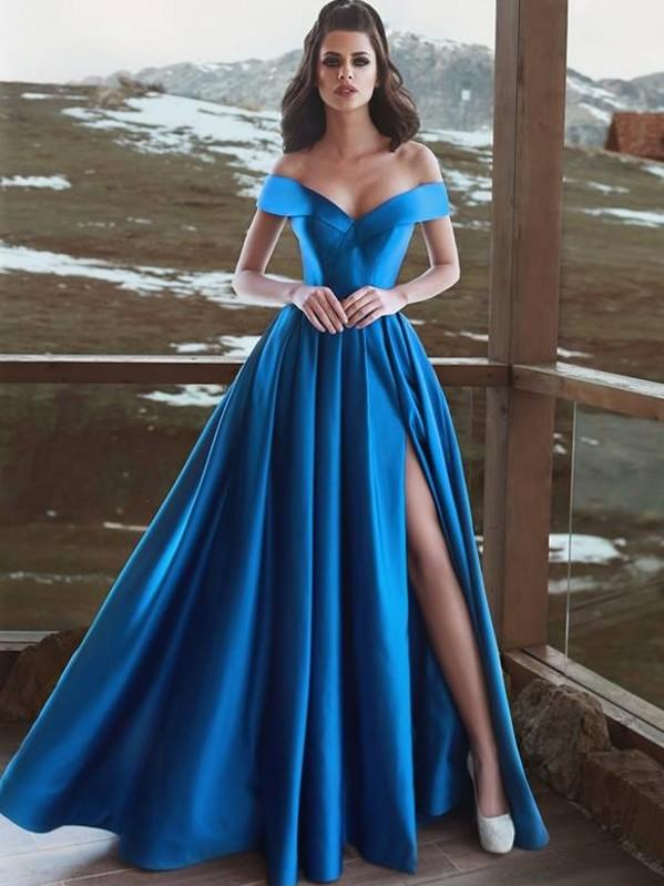 Simple Off-The-Shoulder A-Line Prom Dresses   Sexy Side Slit Long Evening Dresses
