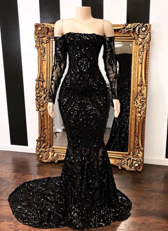Sexy Black Mermaid Prom Dresses | Off-the-Shoulder Long Sleeves Evening Gowns