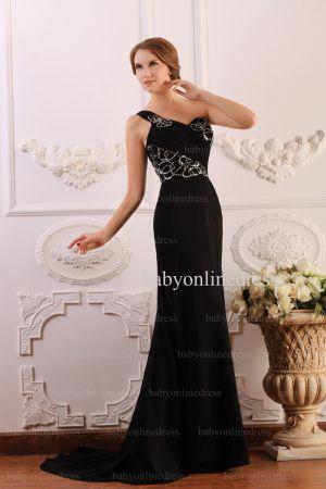 2021 Wholesale Dresses Sheath One Shoulder Applique Beadings Black Chiffon Prom Dress BO0640