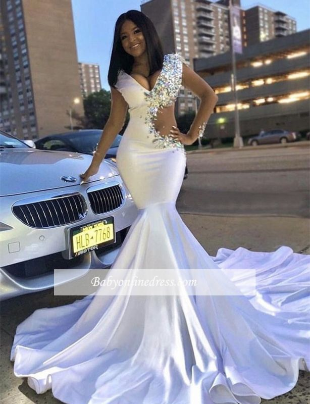 Sexy V-Neck Cap Sleeves White Prom Dresses | Rhinestone Mermaid 2021 Evening Gowns BC0692