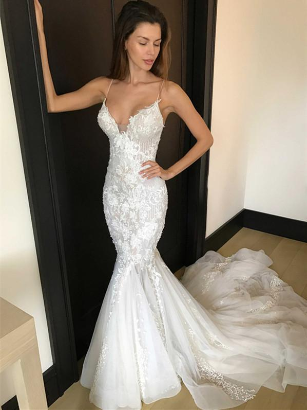 Sexy Lace Mermaid Wedding Dresses | Spaghetti Straps Long Bridal Gowns