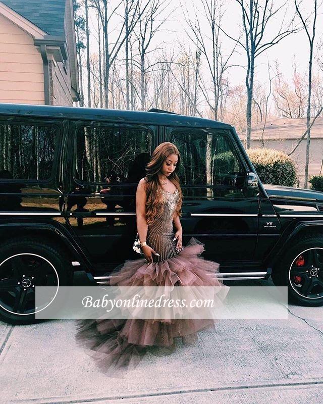 Sleeveless Straps Elegant Tulle Applique Mermaid Prom Dress
