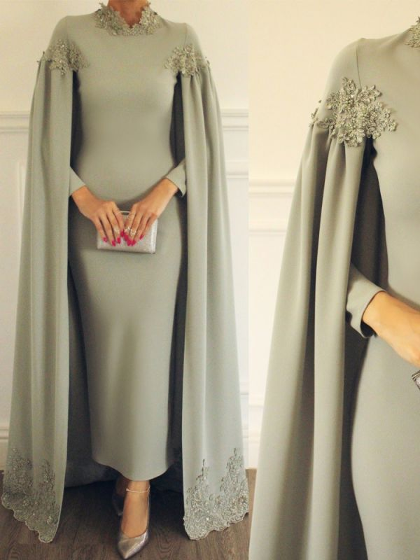 Elegant Cloak Sheath Prom Dresses | High Neck Long Sleeves Lace Appliques Evening Dresses BC1773