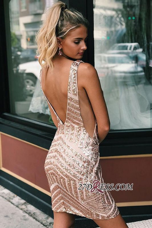 Sequined Sheath Alluring Homecoming Dresses | V-neck Short Gowns