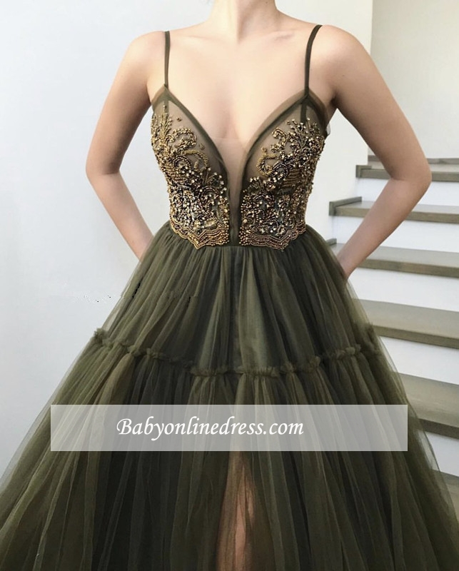 Sexy Spaghetti-Straps Sleeveless Prom Dresses   Appliques Slit Tulle Evening Gowns