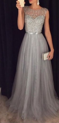 2021 Grey A-line Prom Dresses Beaded Long Tulle Luxury Evening Gowns