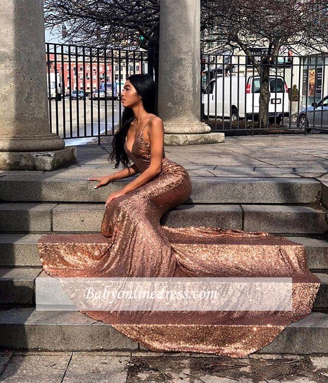 Spaghetti-Straps Sequins Gorgeous Mermaid Prom Dress