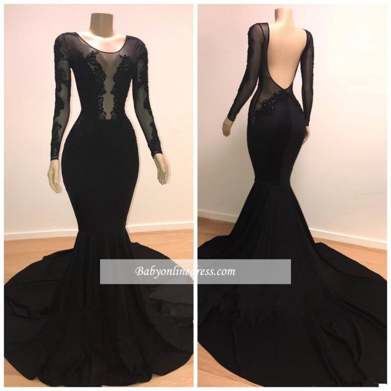 Elegant Long Sleeves Scoop Black Prom Dresses | Lace-Appliques Mermaid Evening Gowns BC0872