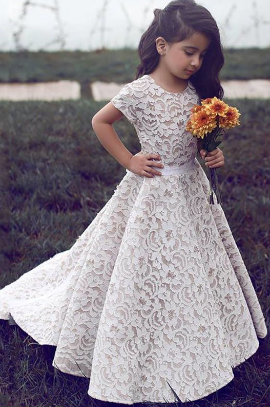 Gorgeous Floor Length Short Sleeves Lace Pageant Dress Flower Girl Dresses