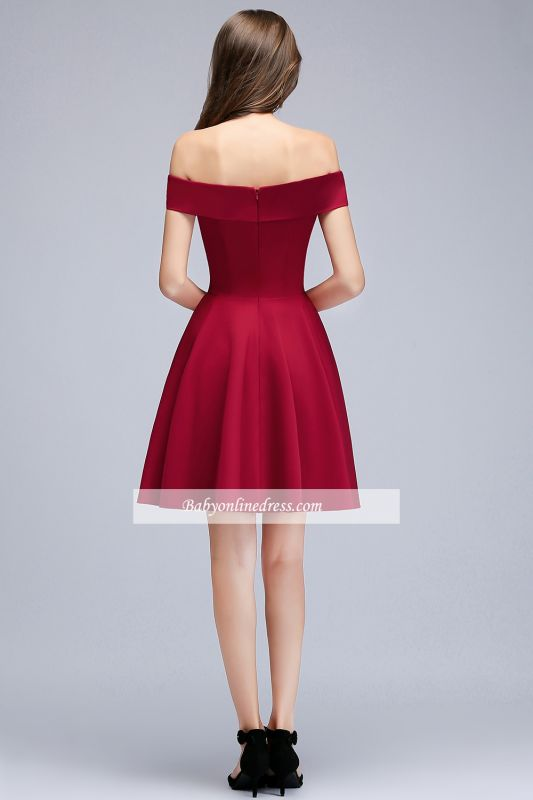 A-Line Length Knee Off-the-Shoulder Sweetheart Homecoming Dresses