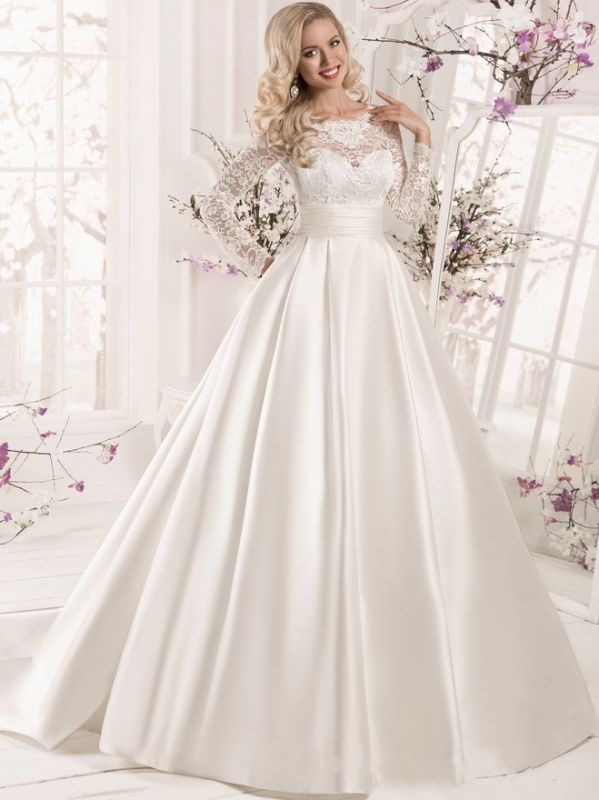 Elegant Ball Gown Wedding Dresses | Scoop Long Sleeves Lace Appliques Bridal Dresses