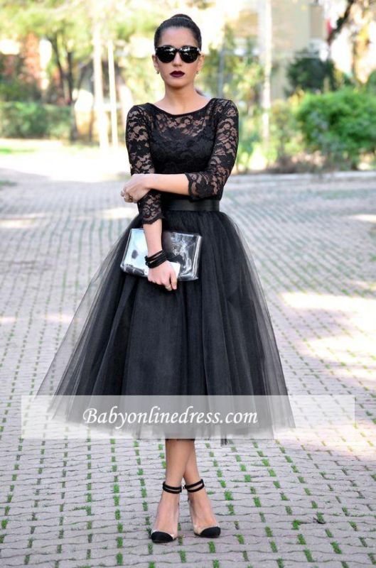 Popular A-Line Black Tulle 3/4 Length Sleeves Tea-Length Lace Evening Gowns