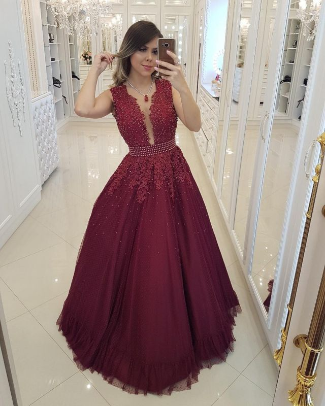 Chic Burgundy Pearls Prom Dresses | Deep V-Neck Sheer Back Evening Gowns