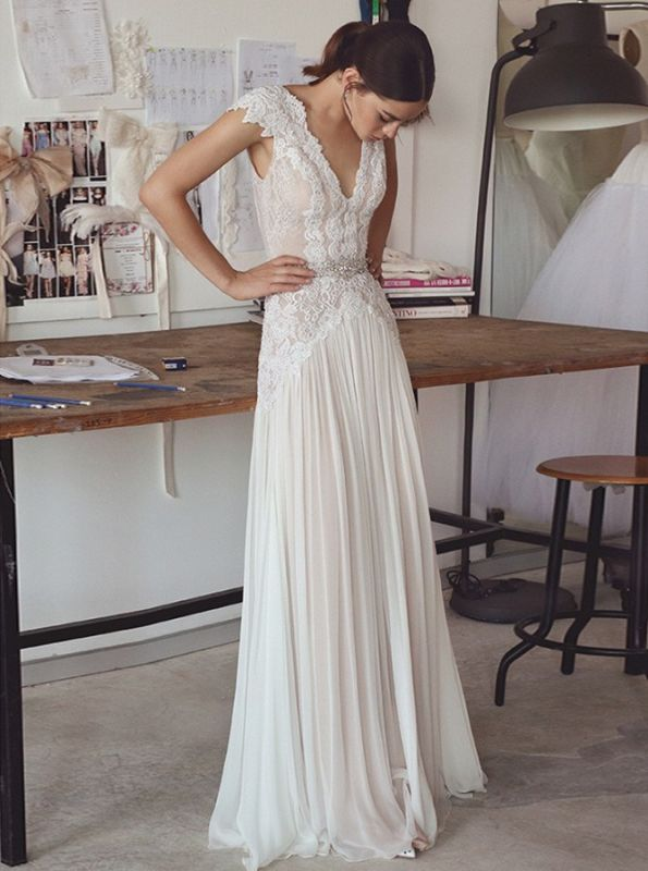Elegant Lace A-Line Wedding Dresses | V-Neck Cap Sleeves Appliques Long Bridal Gowns