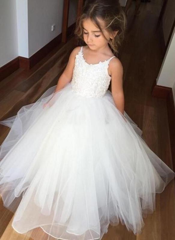 Lovely White Flower Girl Dresses | Spaghetti Straps Tulle Girl Party Dress