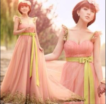 Sexy Pink Evening Dress Long Belt Chiffon Embroidery Party dresses Bridesmaid Dresses