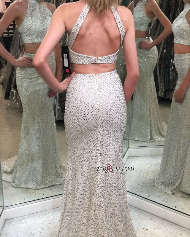 Beautiful Halter Two-Pieces Backless Mermaid Evening Dresses