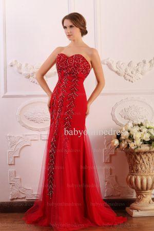 Wholesale 2021 Prom Dresses Sweetheart Tulle Applique Beadings Red Long Dress BO0645
