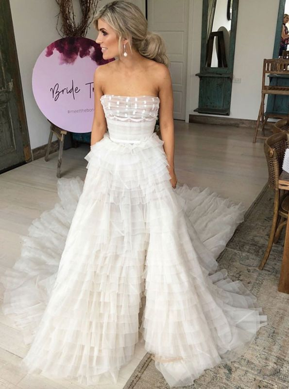 Elegant Tiered A-Line Wedding Dresses | Strapless Long Bridal Gowns