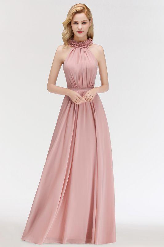 Elegant Chiffon A-Line Bridesmaid Dresses   Halter Ruched Long Formal Dresses