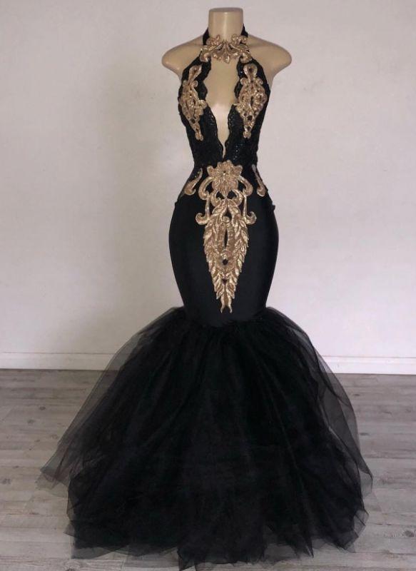 Chic Black Mermaid Prom Dresses | Halter Keyhole Neckline Gold Appliques Evening Gowns