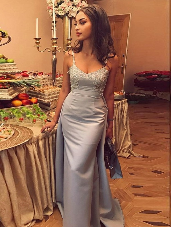 Geogrous Mermaid Evening Dresses | Spaghteei Straps Appliques Over Skirt Prom Dresses