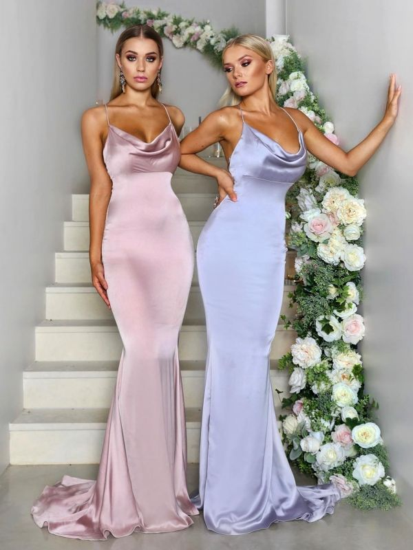 Sexy Mermaid Bridesmaid Dresses | Spaghetti Straps Cheap Long Prom Dresses