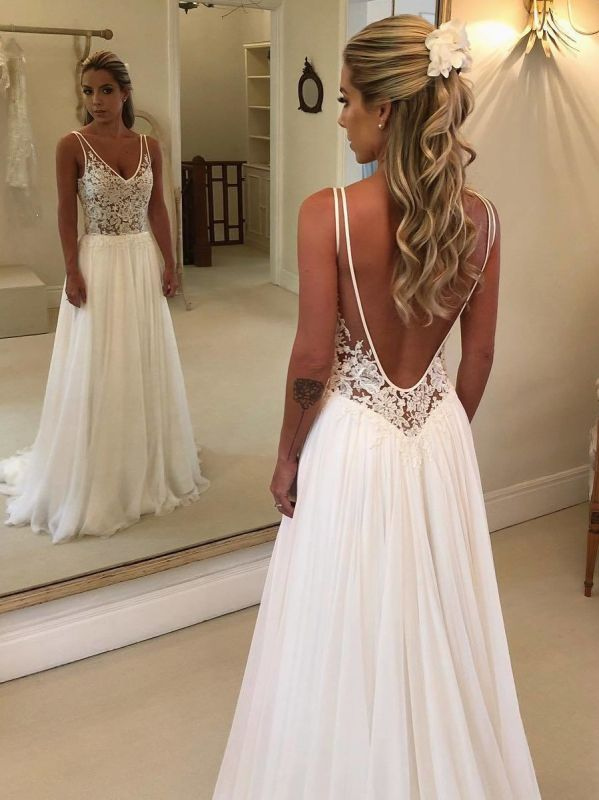 Elegant Lace A-Line Wedding Dresses | V-Neck Sleeveless Appliques Long Bridal Gowns
