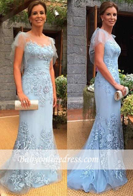 2021 Sweep-Train Cap-Sleeves Appliques Sheath Mother of the Bride Dress