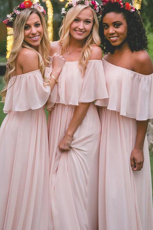 Off-the-Shoulder Chiffon Bridesmaid dress|Elegant Pink Wedding Guest Dresses