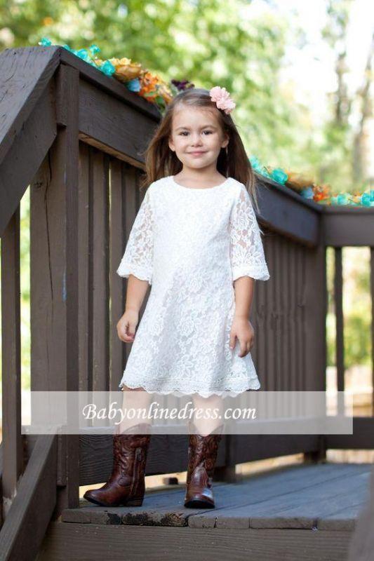 Cute Lace White Half-Sleeve A-line Knee Length Flower Girl Dress