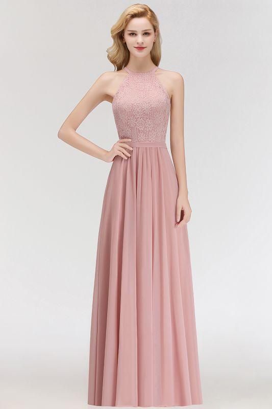 Elegant Halter A-Line Bridesmaid Dresses | Cheap Top Lace Bottom Chiffon Wedding Party Dresses