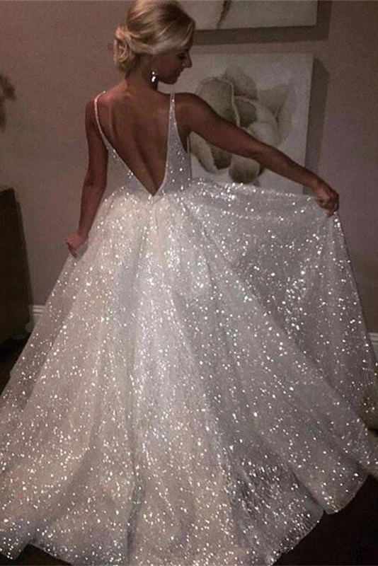 Sheer Sleeveless A-line Wedding Dresses | Open-Back Bridal White Wedding Dresses