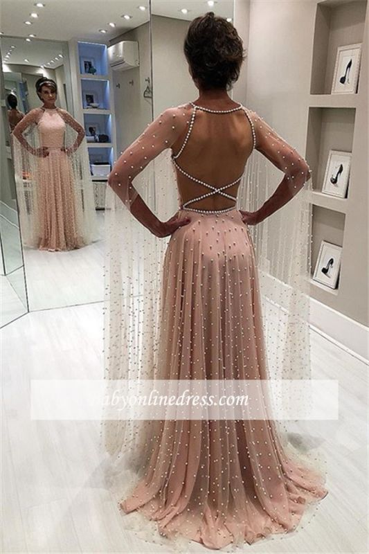 Backless Elegant Sheer-Tulle Beading A-Line Pink Prom Dress BC1826