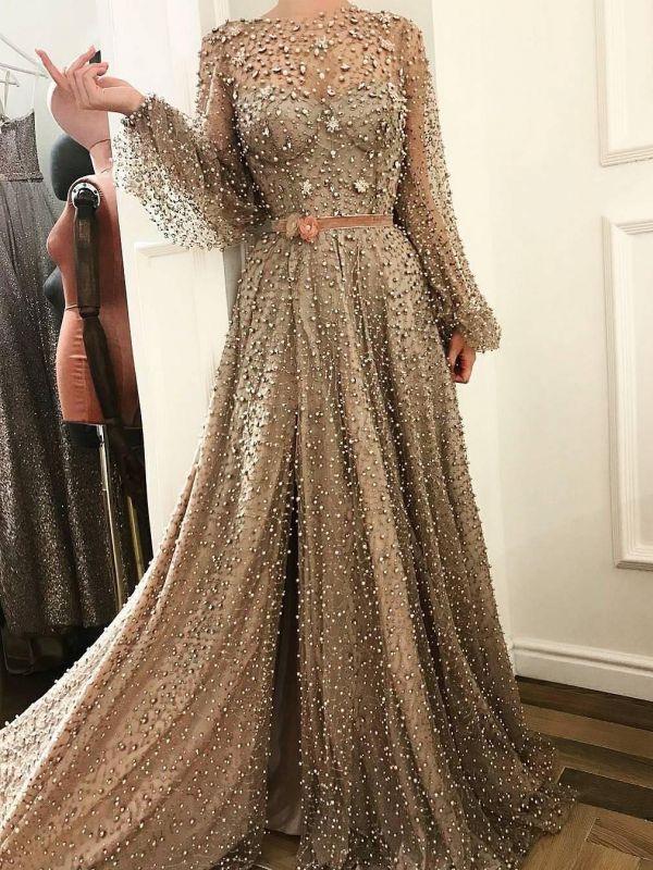 Luxury Crystals A-Line Prom Dresses | Bateau Puffy Long Sleevs Slit Evening Dresses